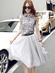 Women's Floral/Solid Set , Shirt Collar Short Sleeve Button/Layered/Ruched/Mesh