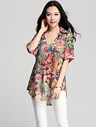 Mulheres Blusa Colarinho de Camisa Manga Curta Chifon Mulheres