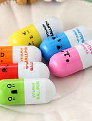 (10 PCS)High Quality Fashion Retractable Ballpoint Pen pills Style Toy (Color Random Delivery)