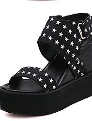 Women's Shoes Fabric Wedge Heel Wedges Sandals Outdoor Black