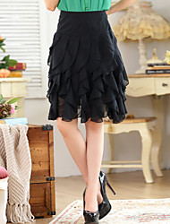 Women's Solid Black Skirts , Casual Above Knee Ruffle