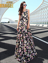 Verragee ® Summer New Europe And The United States Of Big Shop Sign Long Posed Floral Chiffon Dress  Big Yards Dress
