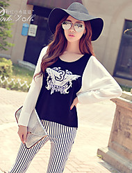 Pink Doll®Women's Casual/Cute Color Block Patchwork Batwing Sleeve T-shirt