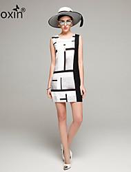 nuoxin® Women's Summer Round Collar Sleeveless Fashion Printing Large Size High Quality Noble Elegant Evening Dress