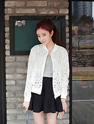 Women's Lace White/Black Jackets , Casual Stand Lace/Hollow Out