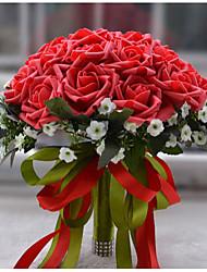 Hochzeitsblumen Rundförmig Rosen Sträuße Hochzeit Polyester Satin Schaumstoff ca.30cm
