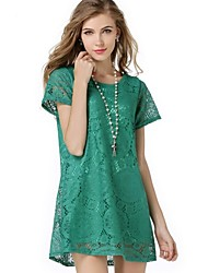 Women's Lace Hook Flower Solid Short Sleeve A Line Dress