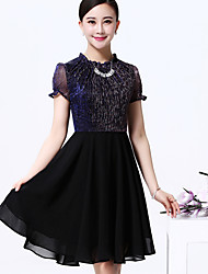 Women's Vintage Plus Sizes Micro Elastic Short Sleeve Above Knee Dress (Chiffon)