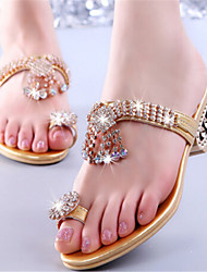 Women's Shoes Chunky Heel Toe Ring Slippers Dress Gold
