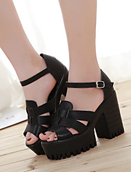 Zapatos de mujer Semicuero Plataforma Plataforma Sandalias Casual Negro/Blanco