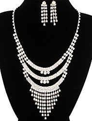 Fashion Long Drop Fully Rhinestone Silver Copper Jewelry Set 11