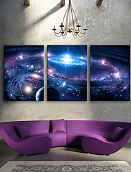 Fantaisie / Paysage Toile Trois Panneaux Prêt à accrocher , Format Vertical