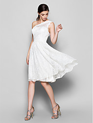 Knee-length Lace Bridesmaid Dress - White A-line One Shoulder