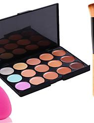 15 colores de camuflaje pro cara cuidado facial crema en polvo de maquillaje paleta Concealar + 1pcs brocha para polvos + puff esponja