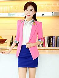 Women's Solid Blue/Red/Green/Yellow Blazer , Casual/Work Shirt Collar Long Sleeve