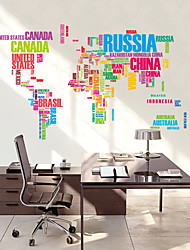 Wall Stickers Wall Decals, Colors Letters World Map PVC Wall Sticker