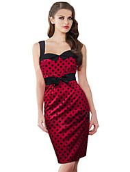 vestido de festa do vintage sem mangas inelástica na altura do joelho da mulher (chiffon)