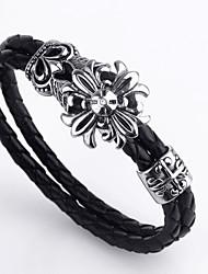 European Style Flower Shape Titanium Steel Wholesales Hot Sales Cross Bracelets For Mens(Black)(1Pc)
