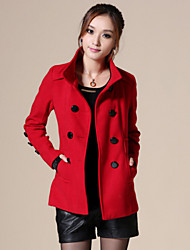 Women's Vintage Coat,Solid Stand Long Sleeve Winter Red / Black / Green / Yellow Wool / Others Thick