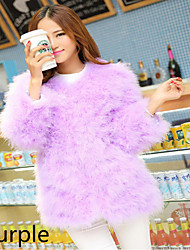 Party fire feather long with thick fur coat