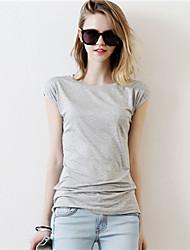 Damen Solide Einfach Lässig/Alltäglich T-shirt,Rundhalsausschnitt Sommer Kurzarm Weiß / Schwarz / Grau Baumwolle Dünn