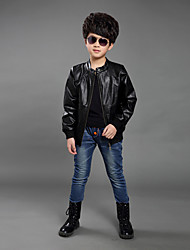 Boy's Cotton/PU Medium Fashion Long Sleeve Jacket & Coat
