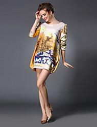 Women's Mini Dress , Cotton Yellow Casual
