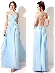 Homecoming A-line Jewel Floor-length Evening Dress