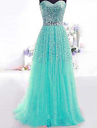 Formal Evening Dress A-line Sweetheart Floor-length Sequined Dress