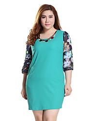 Prettyshow 2015 Autumn New Style Oversize XL-5XL Lady Three Quarter Sleeve Fashion Slimming Straight Dress Q8519