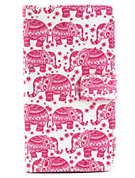 Red Elephant Pattern PU Leather Material Card Full Body Case for Samsung Galaxy Note 4