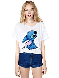 Damen Druck T-Shirt - Polyester Kurzarm Rundhalsausschnitt