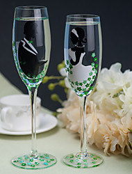 Color Hand-painted Toasting Flutes (Set of 2)---- the Bride and Groom with Green Flower