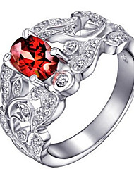 Volcano 925 Silver Inlaid Natural Pomegranate Red Wine SR0005G Shi Yin ring