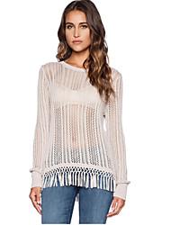 Women's Sexy Chic Tassel Hollow Out Crochet Long Sleeve Sheer Thin Sweater