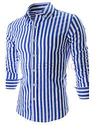 Herren Hemd-Gestreift Freizeit / Büro / Formal Baumwollmischung Lang Blau / Orange
