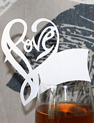 12pcs Love Heart Wine Glass Card Escort Cup Card Table Name Number Place Card for Wedding Baby Shower Party Decorations