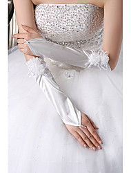 Elbow Length Fingerless Glove Satin/Tulle Flower Girl Gloves/Bridal Gloves/Party/ Evening Gloves