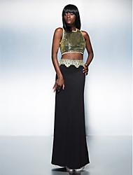 Formal Evening Dress - Multi-color Plus Sizes / Petite Sheath/Column Jewel Floor-length Sequined / Knit