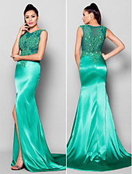 Formal Evening Dress - Jade Trumpet/Mermaid Jewel Court Train Satin
