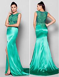 Fiesta formal Vestido - Verde Jade Corte Sirena Cola Corte - Escote Joya Satén
