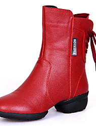 Women's Dance Shoes Boots Breathable Real Leather Low Heel Black/Red