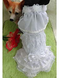 White Wedding Terylene Dresses For Dogs