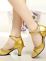 Non Customizable Women's Dance Shoes Paillette Paillette Modern High Heels Chunky Heel Practice / Beginner / Professional / IndoorSilver