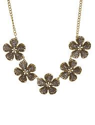 Fashion Women Vintage Multi Flowers Necklace