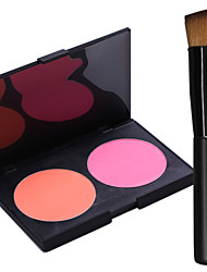 Pro Party 2 Colors Face Blush Blusher Powder Palette + 1PCS Makeup Foundation Brushes