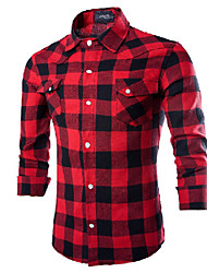Casual/Daily / Work Simple Spring / Fall Shirt,Plaid Button Down Collar Long Sleeve Red / Black Cotton / Polyester Medium