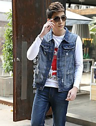 Men's Fashion Casual Solid Blue Sleeveless Jacket, Regular Denim / Jean Wear  Fashion Blue Color All Seasons Men's Fashion Wear