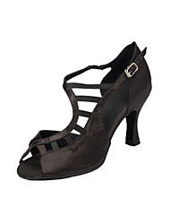 Non Customizable Women's Dance Shoes Salsa Flocking Flared Heel Black/Brown/Purple/Red
