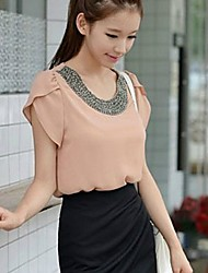 Women's Pink/White Blouse Short Sleeve